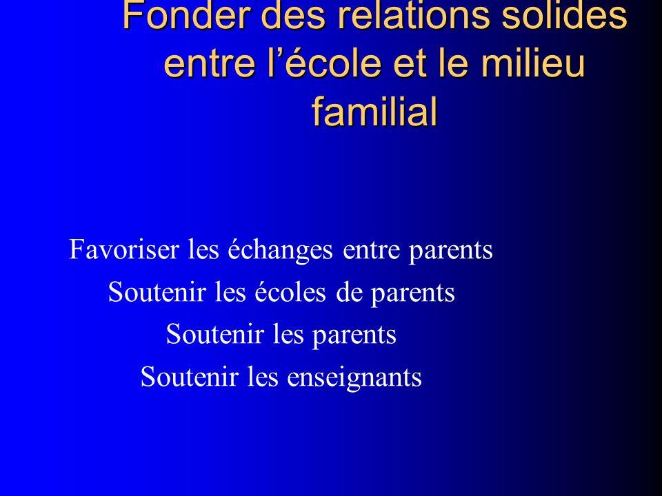 Fonder des relations solides entre l'école et le milieu familial