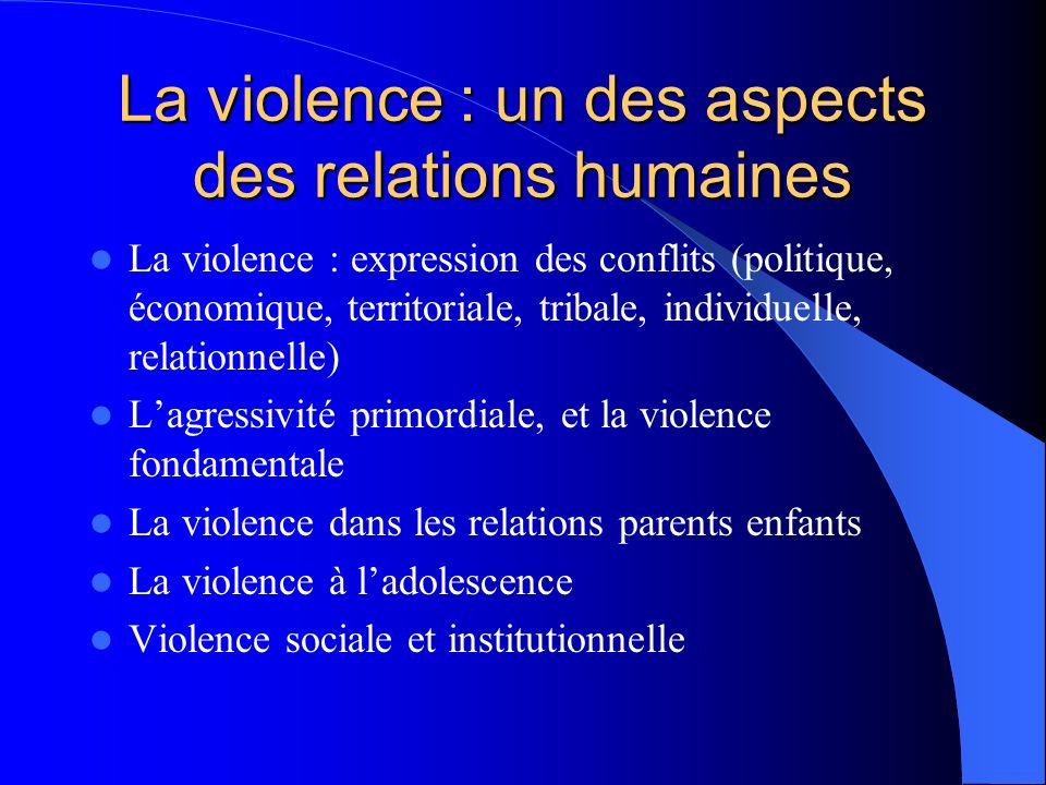 La violence : un des aspects des relations humaines