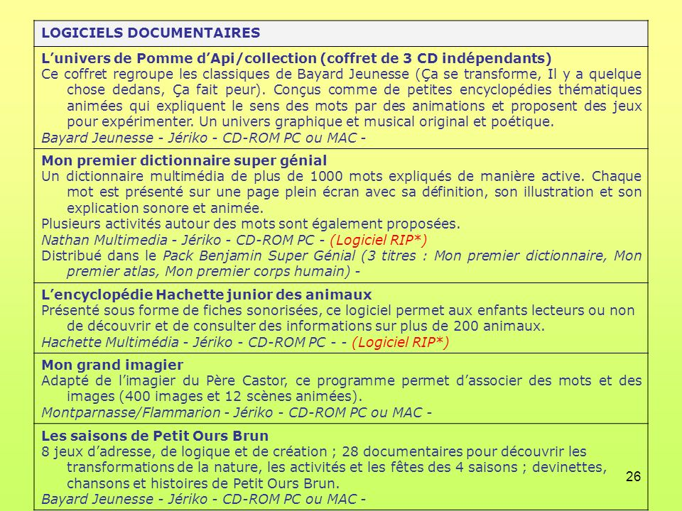 LOGICIELS DOCUMENTAIRES