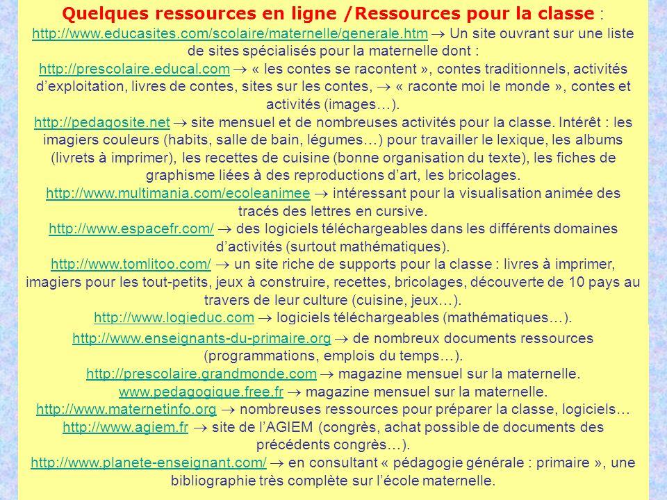 Quelques ressources en ligne /Ressources pour la classe :
