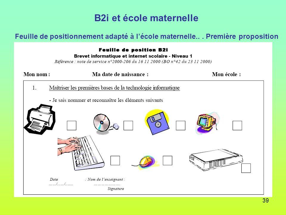 B2i et école maternelle Feuille de positionnement adapté à l'école maternelle..