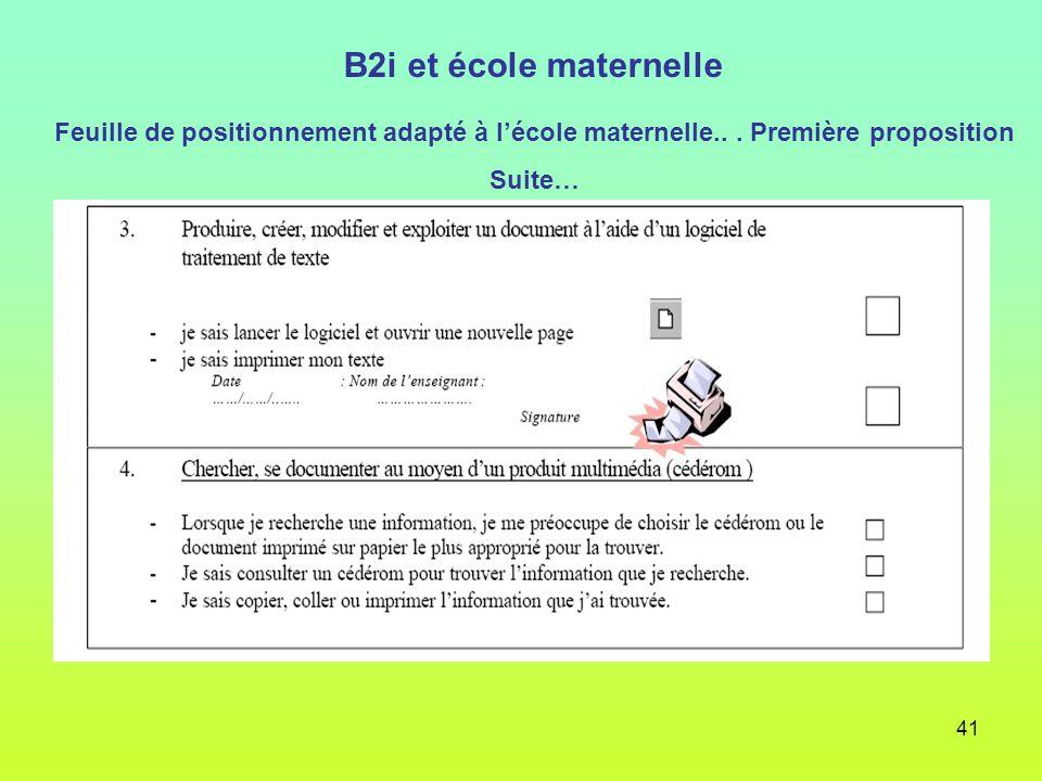 B2i et école maternelle Feuille de positionnement adapté à l'école maternelle.. . Première proposition.