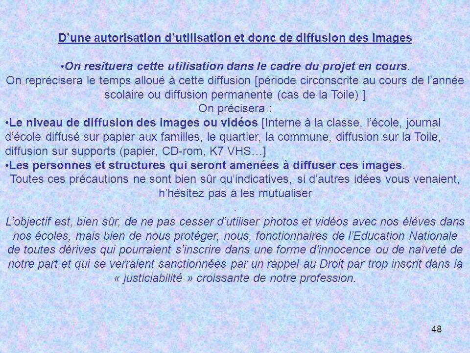 D'une autorisation d'utilisation et donc de diffusion des images