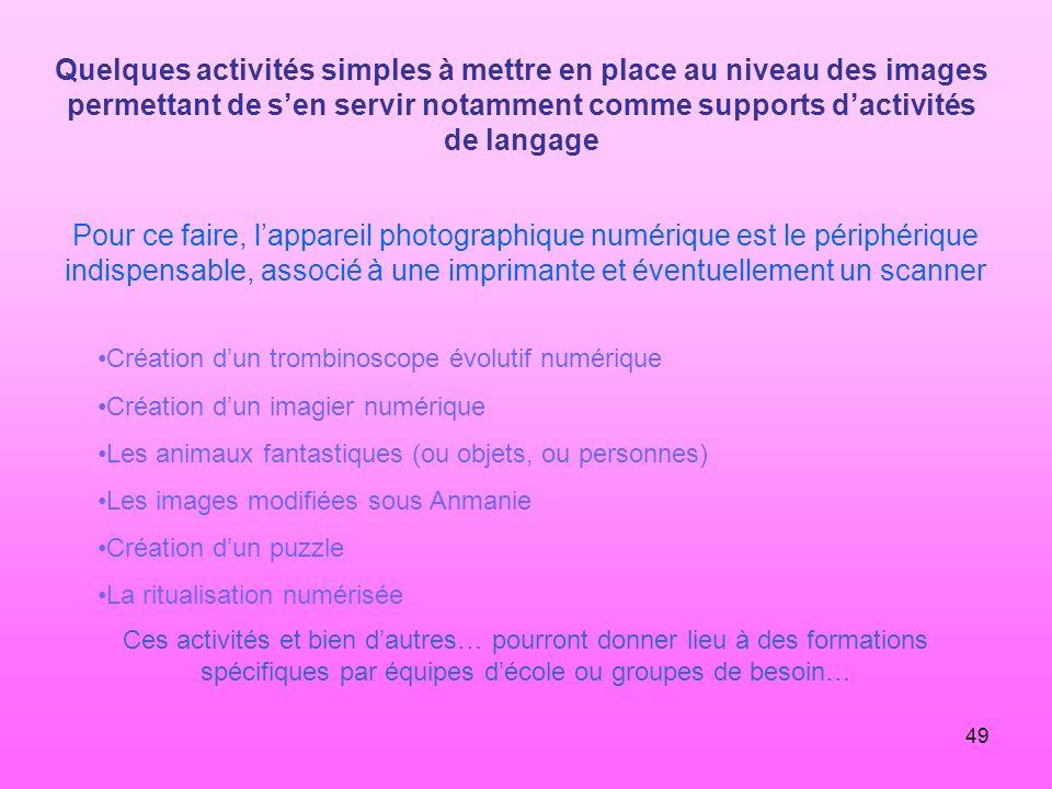 Quelques activités simples à mettre en place au niveau des images permettant de s'en servir notamment comme supports d'activités de langage