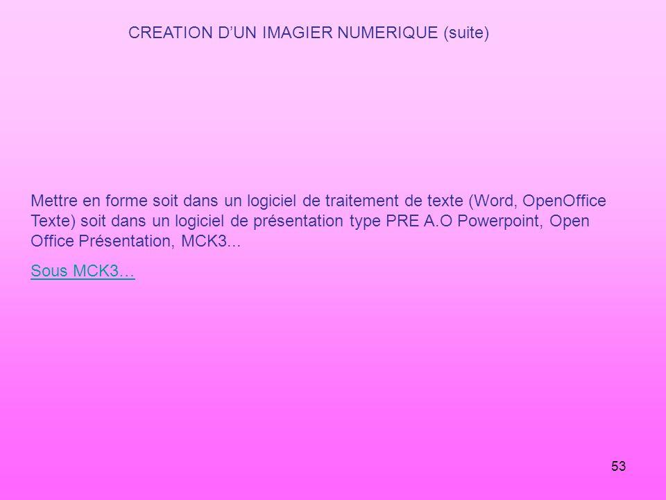 CREATION D'UN IMAGIER NUMERIQUE (suite)