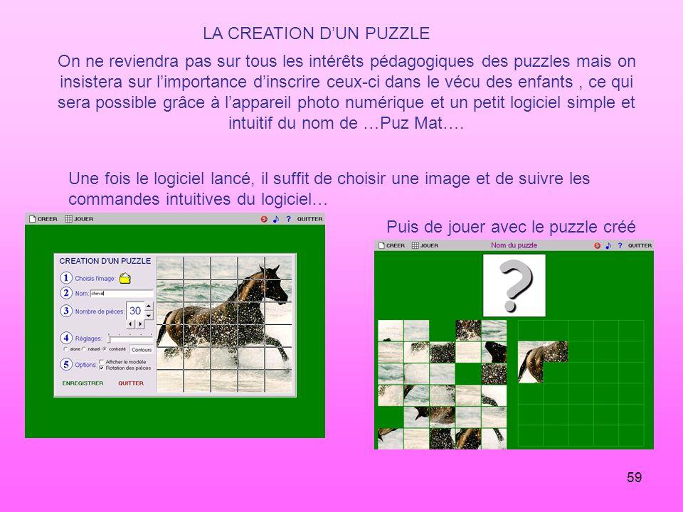 LA CREATION D'UN PUZZLE