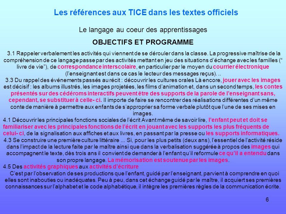 Les références aux TICE dans les textes officiels
