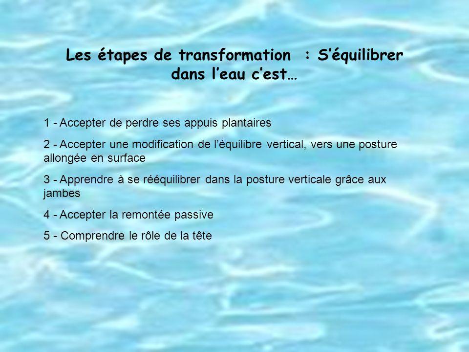 Les étapes de transformation : S'équilibrer dans l'eau c'est…