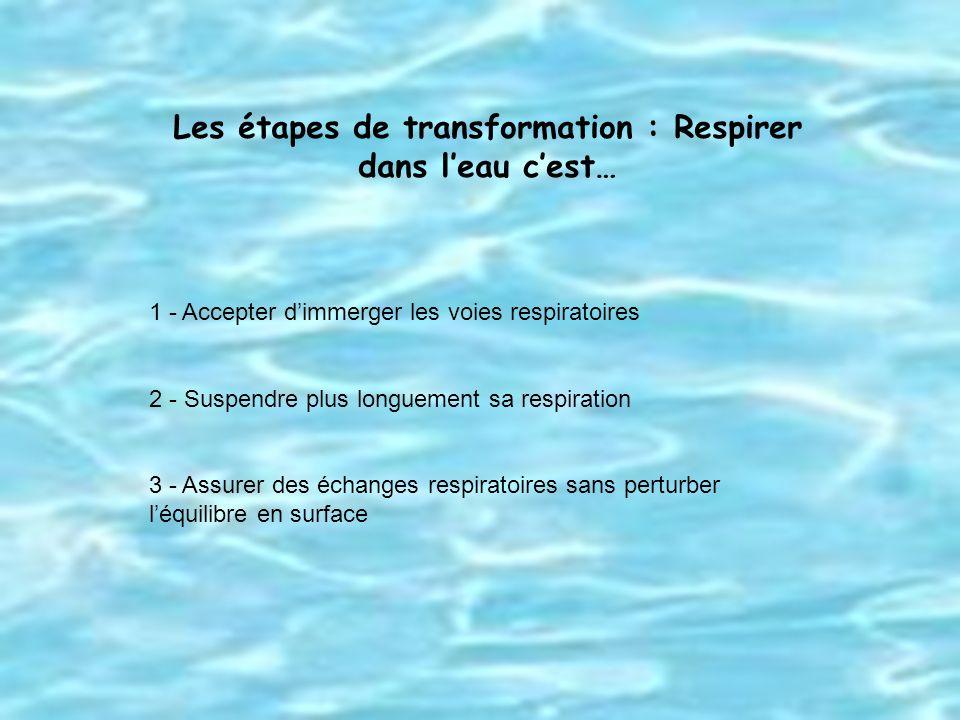 Les étapes de transformation : Respirer dans l'eau c'est…