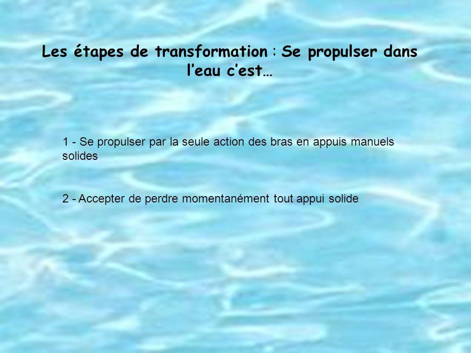 Les étapes de transformation : Se propulser dans l'eau c'est…