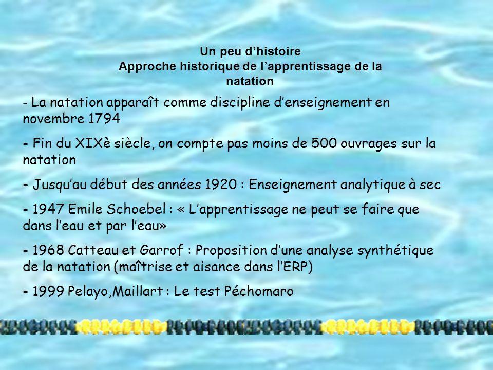 Approche historique de l'apprentissage de la natation