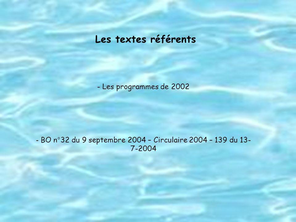 BO n°32 du 9 septembre 2004 – Circulaire 2004 – 139 du 13-7-2004