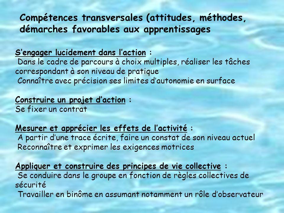Compétences transversales (attitudes, méthodes, démarches favorables aux apprentissages