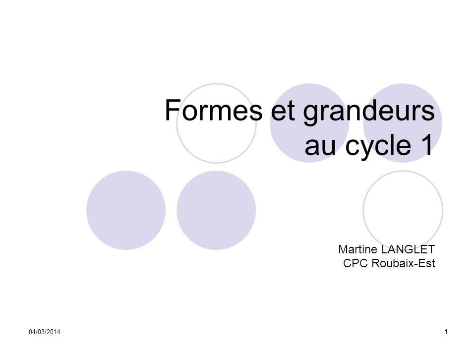 Formes et grandeurs au cycle 1