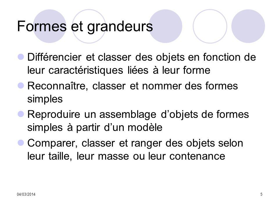 Formes et grandeurs Différencier et classer des objets en fonction de leur caractéristiques liées à leur forme.