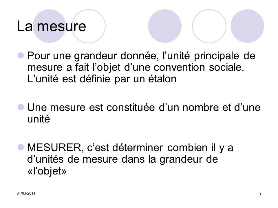 La mesure Pour une grandeur donnée, l'unité principale de mesure a fait l'objet d'une convention sociale. L'unité est définie par un étalon.