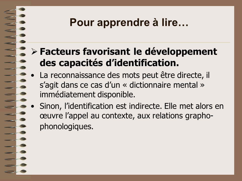 Pour apprendre à lire… Facteurs favorisant le développement des capacités d'identification.