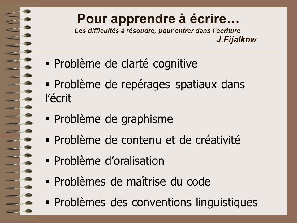 Pour apprendre à écrire… Les difficultés à résoudre, pour entrer dans l'écriture J.Fijalkow