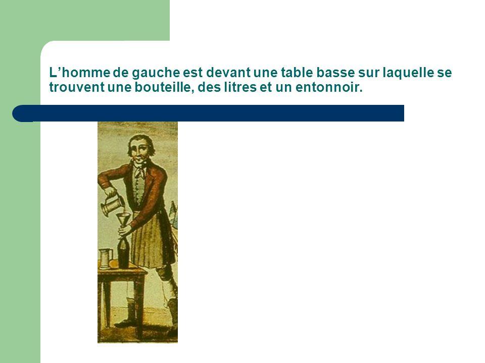 L'homme de gauche est devant une table basse sur laquelle se trouvent une bouteille, des litres et un entonnoir.