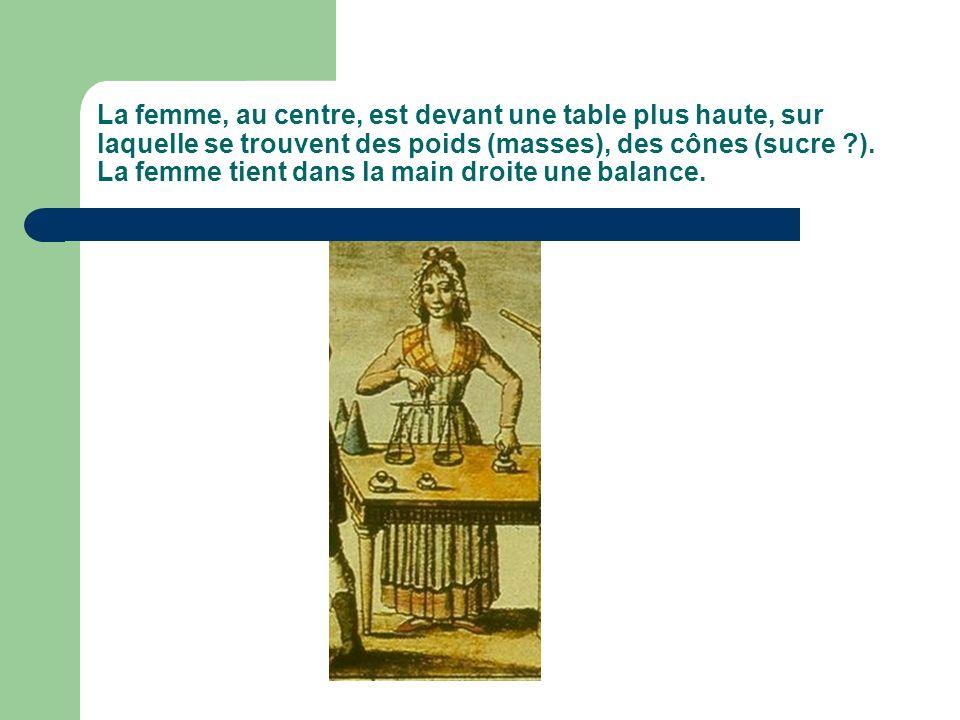 La femme, au centre, est devant une table plus haute, sur laquelle se trouvent des poids (masses), des cônes (sucre ).