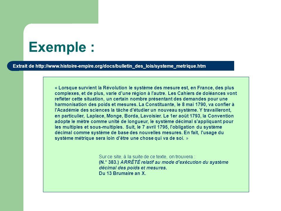 Exemple : Extrait de http://www.histoire-empire.org/docs/bulletin_des_lois/systeme_metrique.htm.
