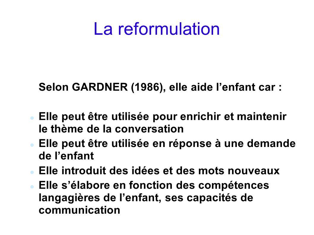La reformulation Selon GARDNER (1986), elle aide l'enfant car :