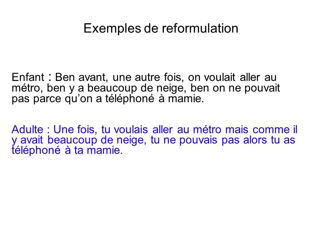 Exemples de reformulation