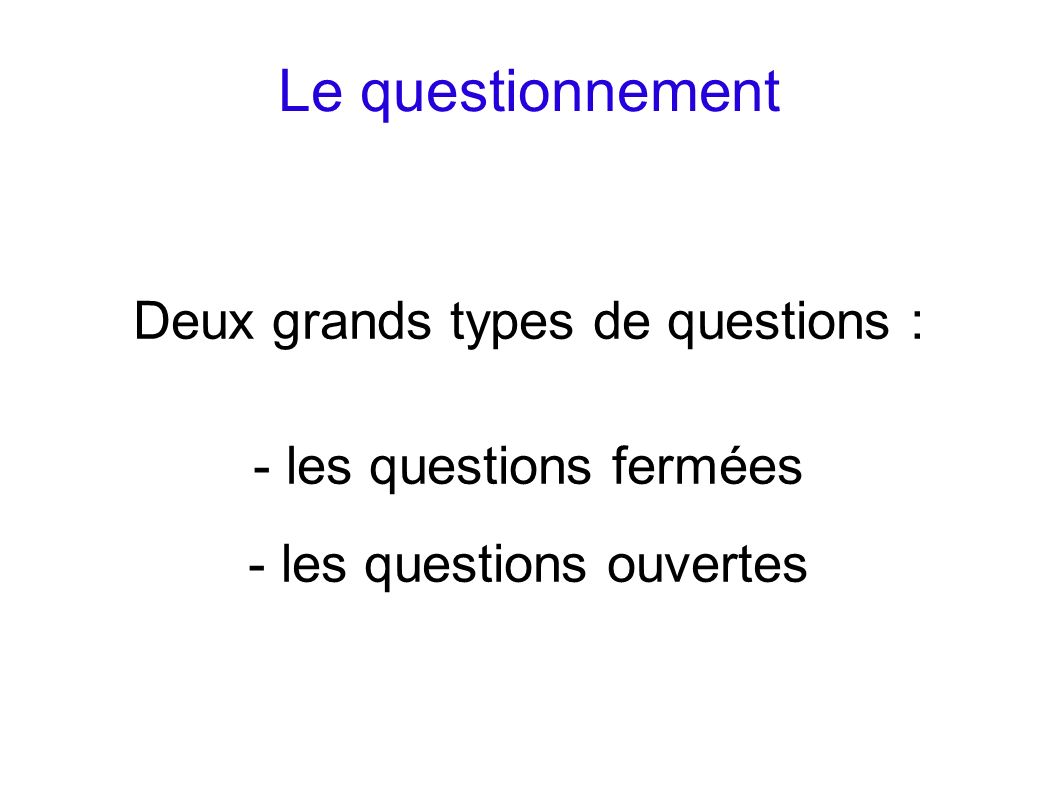Le questionnement Deux grands types de questions :