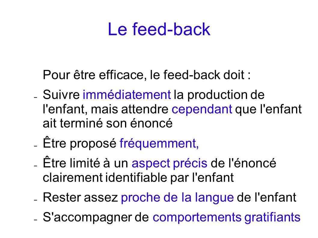 Le feed-back Pour être efficace, le feed-back doit :