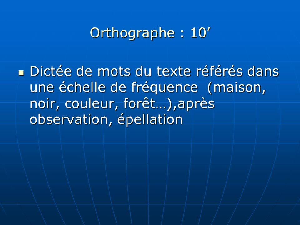 Orthographe : 10'Dictée de mots du texte référés dans une échelle de fréquence (maison, noir, couleur, forêt…),après observation, épellation.