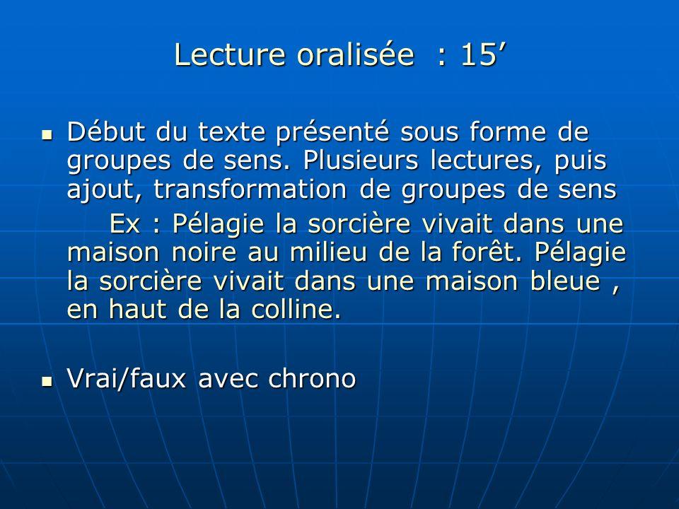 Lecture oralisée : 15'Début du texte présenté sous forme de groupes de sens. Plusieurs lectures, puis ajout, transformation de groupes de sens.