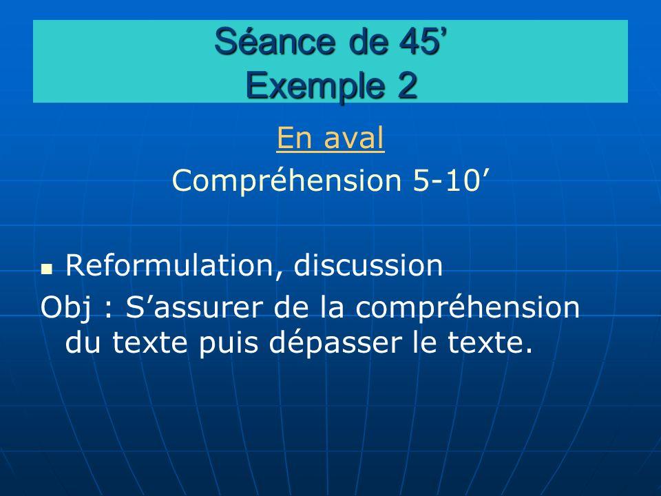 Séance de 45' Exemple 2 En aval Compréhension 5-10'