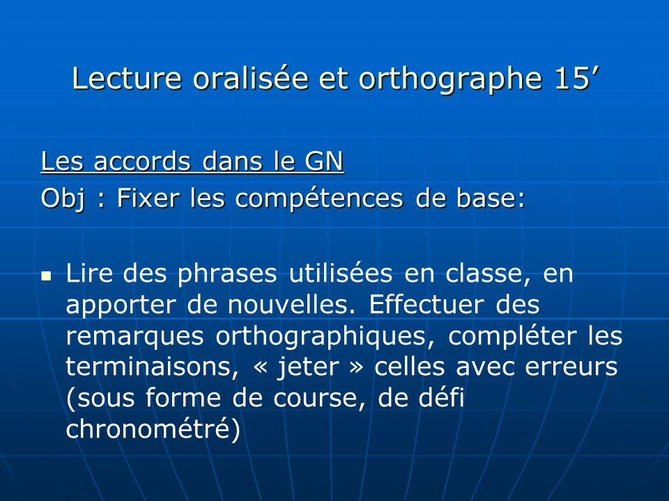 Lecture oralisée et orthographe 15'