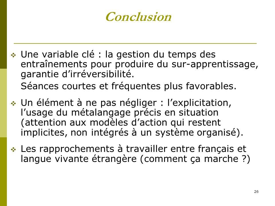 Conclusion Une variable clé : la gestion du temps des entraînements pour produire du sur-apprentissage, garantie d'irréversibilité.