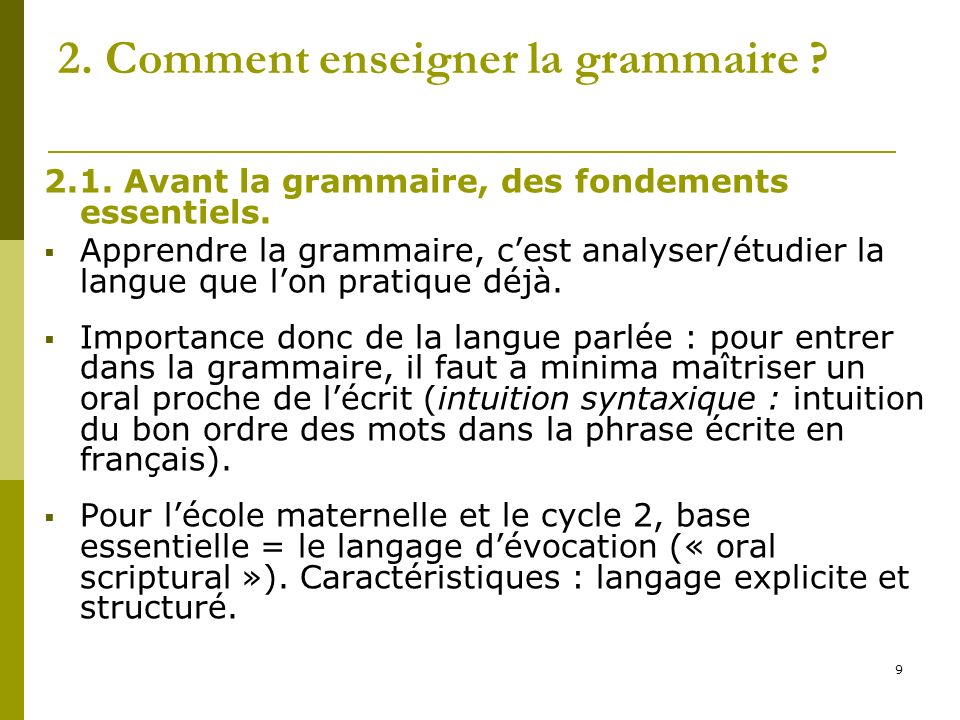 2. Comment enseigner la grammaire