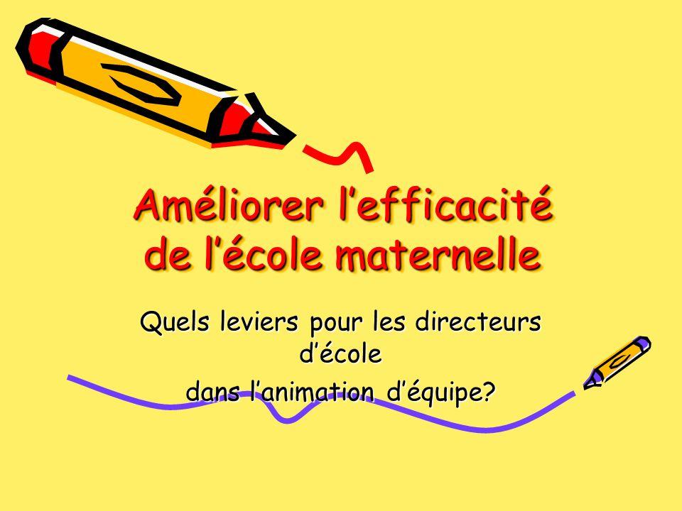Améliorer l'efficacité de l'école maternelle