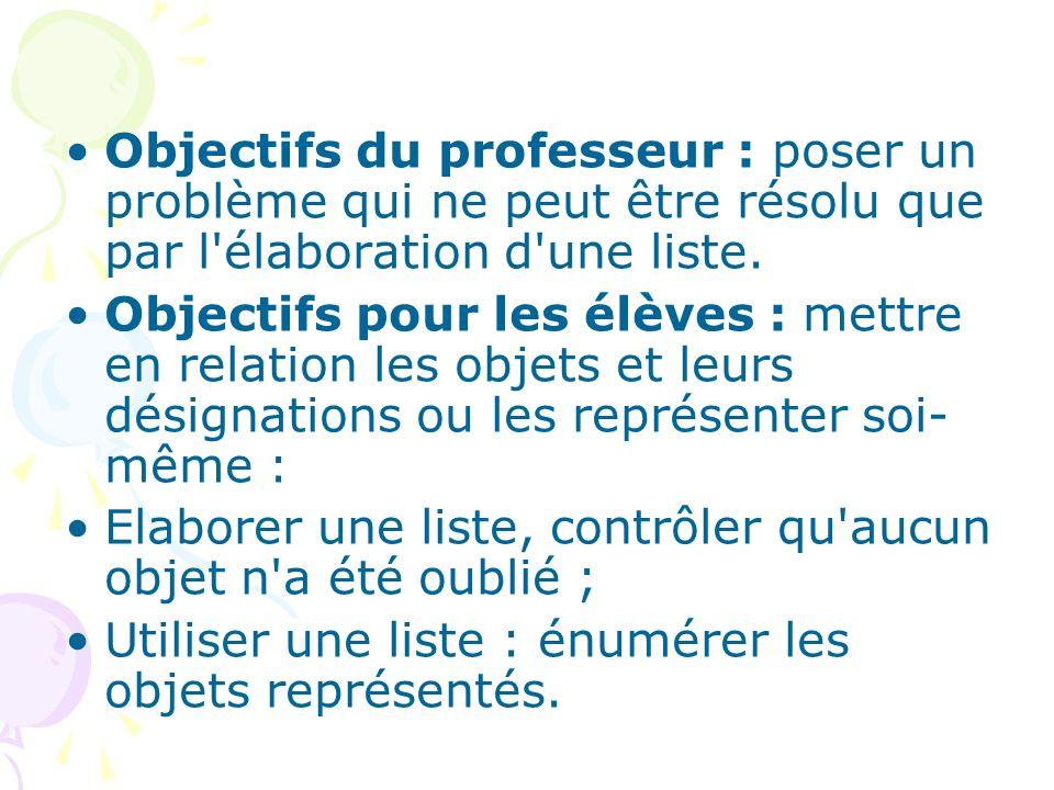 Objectifs du professeur : poser un problème qui ne peut être résolu que par l élaboration d une liste.