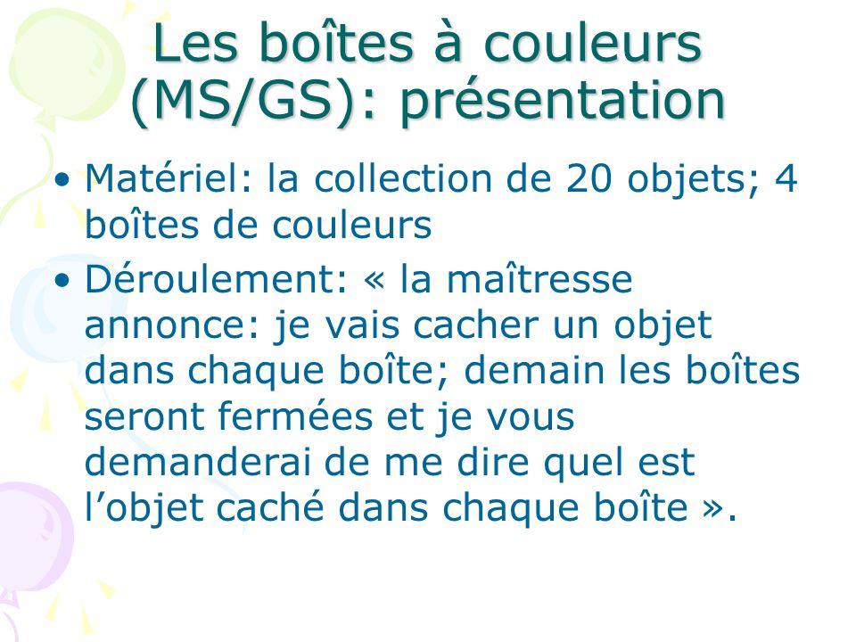 Les boîtes à couleurs (MS/GS): présentation