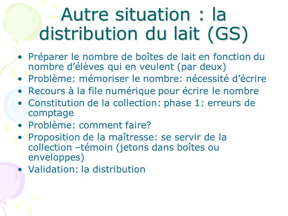 Autre situation : la distribution du lait (GS)