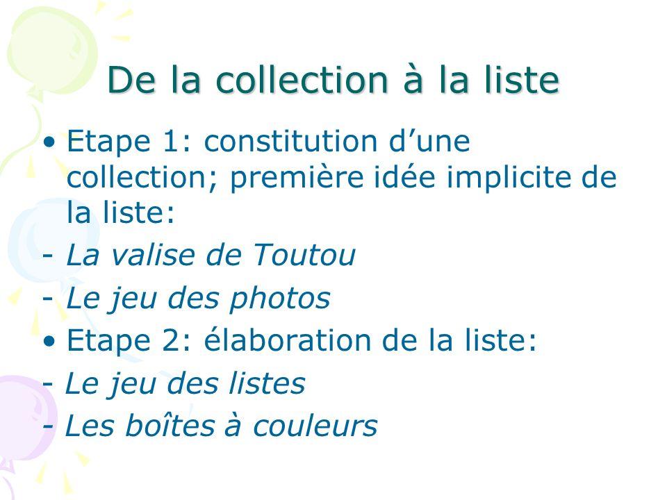 De la collection à la liste