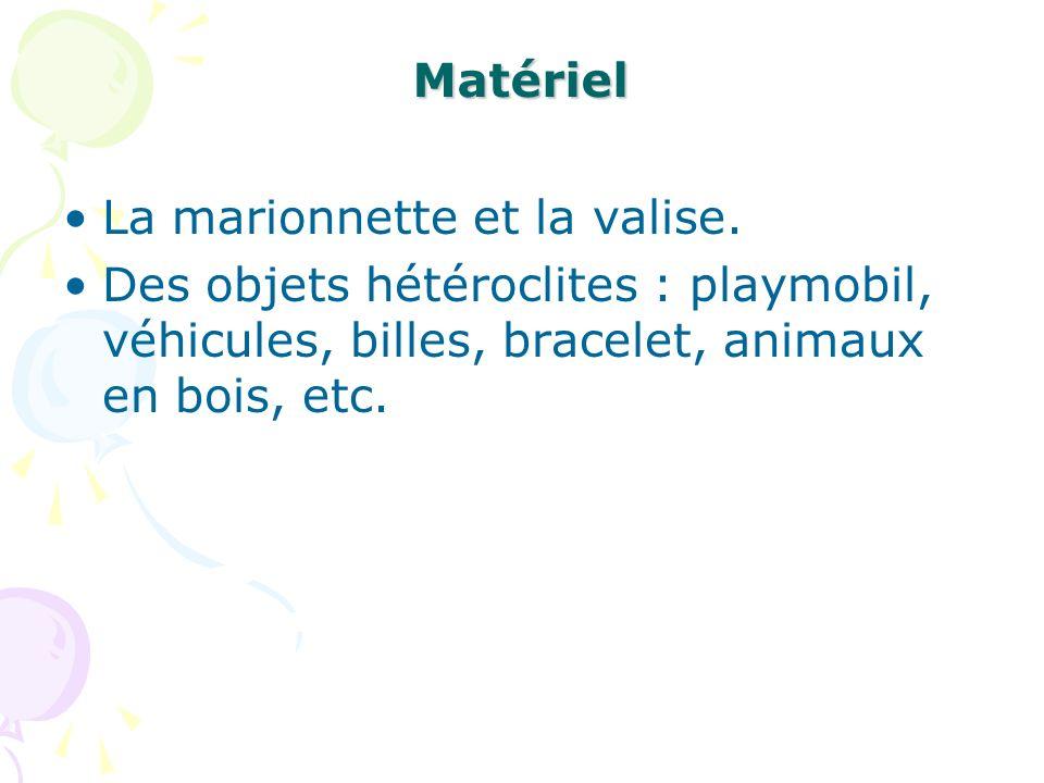 Matériel La marionnette et la valise.
