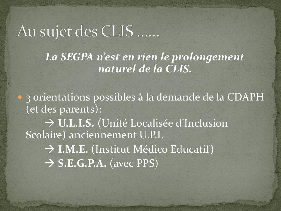 La SEGPA n'est en rien le prolongement naturel de la CLIS.