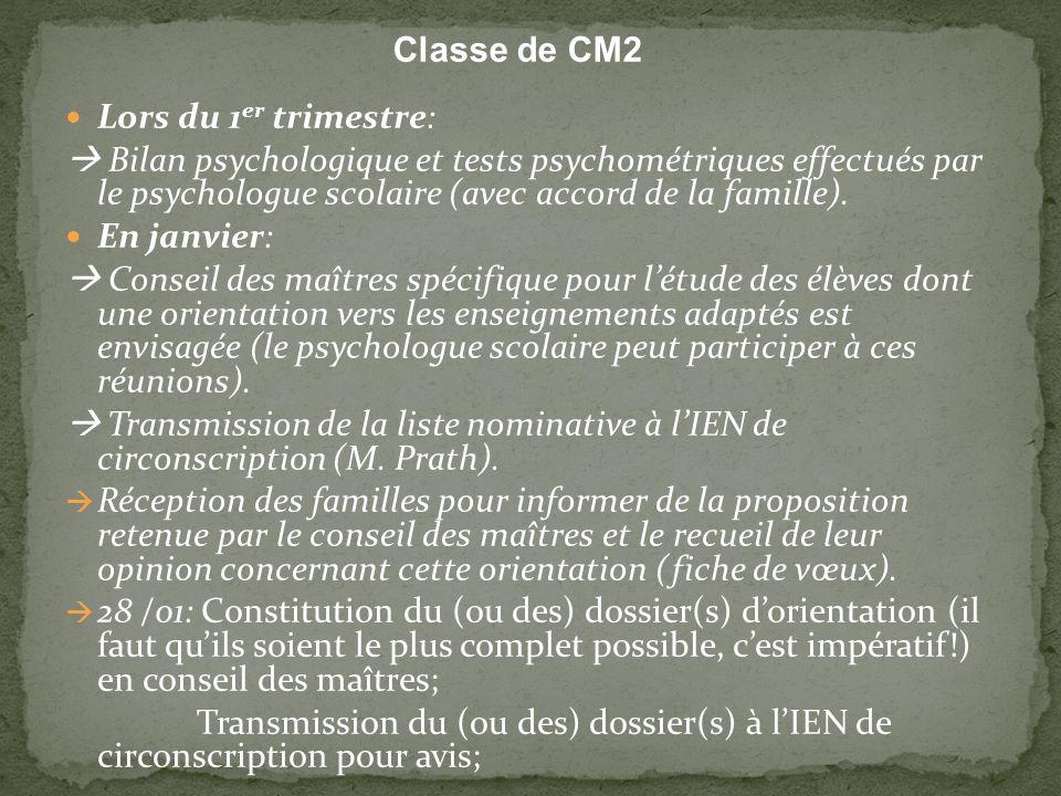 Classe de CM2 Lors du 1er trimestre: