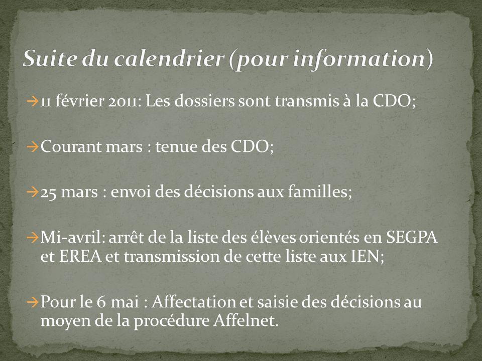 Suite du calendrier (pour information)