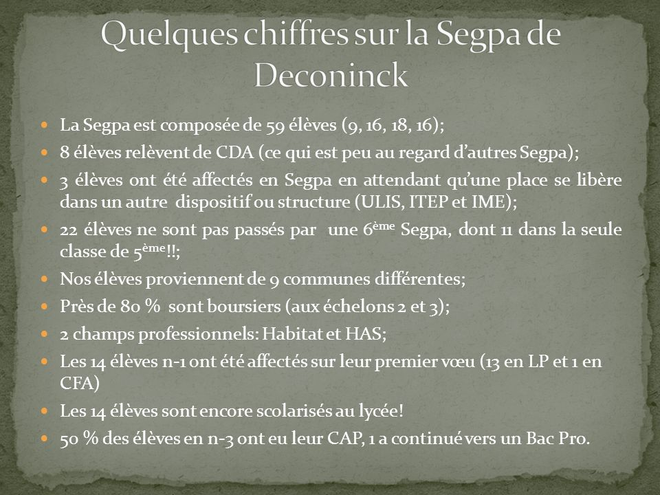Quelques chiffres sur la Segpa de Deconinck