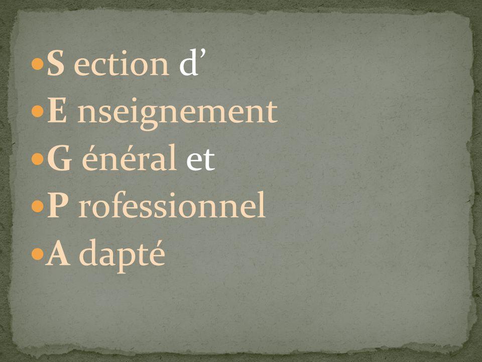 S ection d' E nseignement G énéral et P rofessionnel A dapté