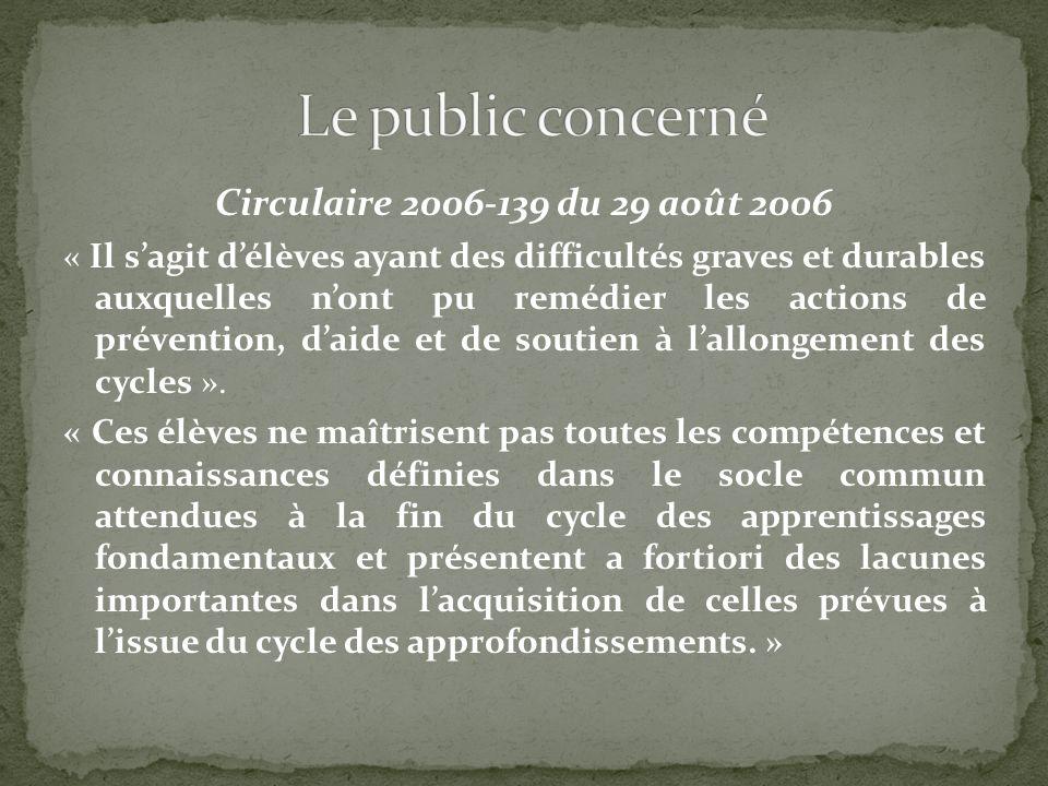Le public concerné Circulaire 2006-139 du 29 août 2006