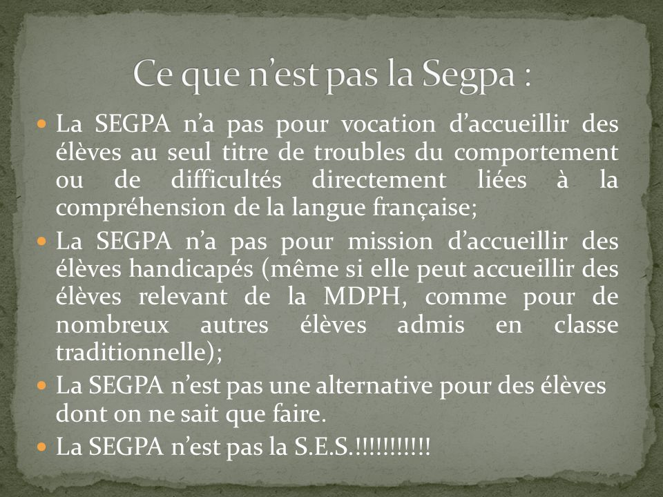 Ce que n'est pas la Segpa :