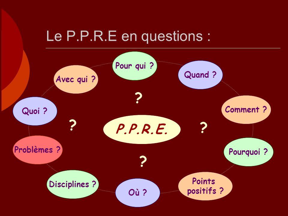 Le P.P.R.E en questions : P.P.R.E. Pour qui Quand