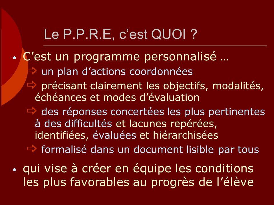 Le P.P.R.E, c'est QUOI C'est un programme personnalisé …